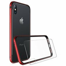 iPhone X Bumper Case Flexible Protective Cover and Back Screen Protector Red