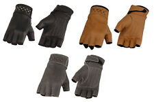 Ladies Studded Leather FINGERLESS Gloves Gel Palm Womens Riding Motorcycle Biker