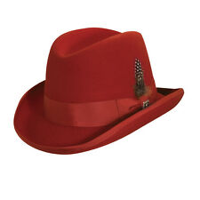 STACY ADAMS ** MENS RED WOOL HOMBURG HAT ** M L XL ** NEW LINED GODFATHER FEDORA