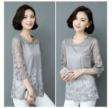 Women Grey Color Large Size Summer Polka Dot Printed Embroidery Blouse