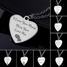 New Fashion Love Heart Engraved Letters Women Stainless Steel Pendant Necklace