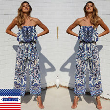 2018 Womens Boho Floral Bandeau Strapless Jumpsuit Wide Leg Playsuit Long Pants