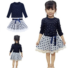 Girls 1st Birthday Outfits Clothing Set Long Sleeve Top +Polka Dot Tutu Skirt