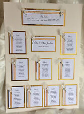 HANDMADE PERSONALISED WEDDING SEATING TABLE PLAN  9 - 11  TABLES FEATHER & ROSE