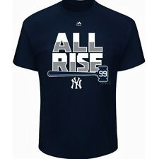 """AARON JUDGE #99 NEW YORK YANKEES MAJESTIC """"ALL RISE"""" NAVY HOMETOWN T-SHIRT NWT"""
