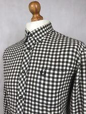 Fred Perry   Long Sleeve Button Down Twill  Check Shirt Large (Ecru/Brown)