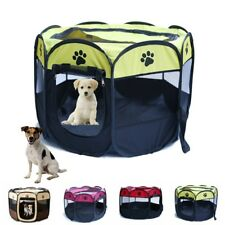 US Pet Dog Cat Playpen Mesh Tent Portable Exercise Fence Kennel Cage Crate Bed
