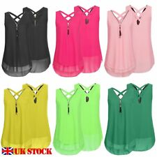 Sexy Womens Summer Chiffon Sleeveless Vest Shirt Blouse Ladies Tops Size 8-14