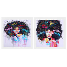 Canvas Oil Painting Wall Art Hanging Picture Home Decor - Afro-hair Girl