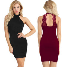 Women Halter Neck Cocktail Party Mini Dress Bridesmaid Bodycon Evening Gown New