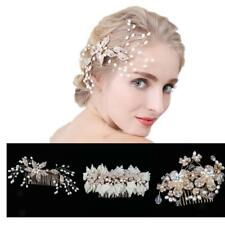 Crystal Floral Bridal Gold Tone Simulated Pearl Hair Side Comb Party Accessory