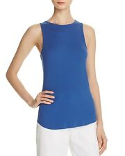 NEW VINCE Ribbed High Neck Raw Edge Layering Shirt Basic Tank Top cobalt blue M