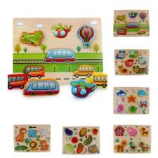 Kids Chunky Wooden Jigsaw Puzzles Animals Insects Vechiles Puzzle (12-16 Pieces)