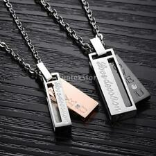 """Titanium Stainless Steel Couple Matching """"Love Devotion"""" Pendant Necklace Lover"""