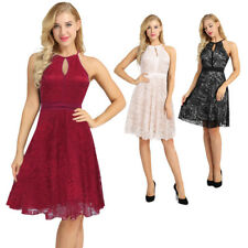 Ladies Lace Halter Sleeveless A-Line Keyhole Wedding Party Formal Swing Dress