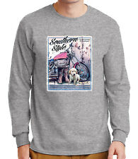 Southern Style Clothing Men's Long Sleeve T-shirt Puppy Motorcycle  - 2003C