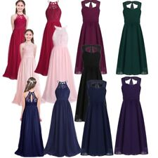 Girls Halter Flower Wedding Bridesmaid Dress Formal Party Pageant Maxi Dresses
