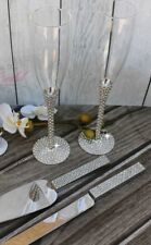 Gorgeous Champagne Glass Set, Sparkling Cake Server and Knife Set, Wedding Toast