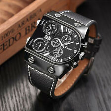 OULM Multi-Time Zone display Military Sport Leather Band Strap Wrist Watch Reloj