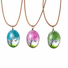 Real Dried Flower Butterfly Tree Pendant Necklace Leather Handmade Women Jewelry