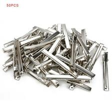 50 x Hair Clips Barrette Silver Crocodile Alligator Clips Findings For Bows MT