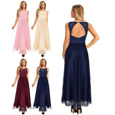 Womens Bridesmaid Dresses Lace Long Formal Tulle Homcoming Party Prom Gown Dress