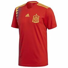 adidas Spain Home Jersey 2018 Mens Red/Gold Football Soccer Top Shirt Strip