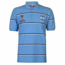 FIFA World Cup 2018 Argentina Striped Polo Shirt Mens Blue Football Soccer Top