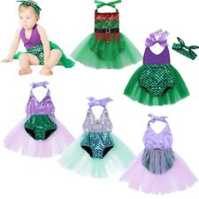 Mermaid Baby Girl Sequins Shiny Scale Stretchy Tutu Skirt Romper Fancy Dress up