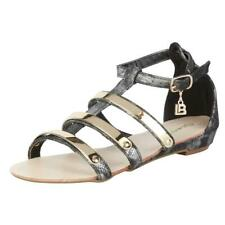 CLEARANCE SALE! Laura Biagiotti Style 354 – Black / Glass Colour Flat Sandals