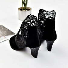 Women Mesh Lace Toe High Block Heels Sandals Shallow Mouth Shoes High-heeled