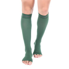 Doc Miller Open Toe Compression Socks 15-20mmHg Recovery Varicose Veins DK GREEN