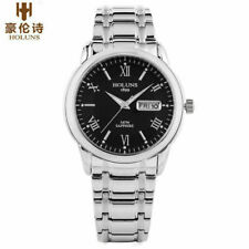 HOLUNS Men's Quartz Wrist Watches Stainless Steel Strap Date Day Display Gift