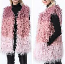 Women's Colorful Faux Fur Sleeveless Jacket Vest Waistcoat Trendy Gilet New Coat