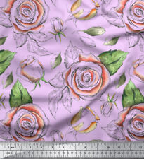 Soimoi Fabric Leaves & Rose Floral Printed Craft Fabric by the Yard - FL-908