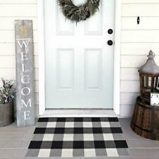 Cotton Bath Runner Buffalo Check Rug Black and White Plaid Runner Doormat Hand-W