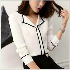 New Women Career Office Lady long sleeve shirt Button Blouse Casual Fitted Tops