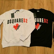 Men's DSQUARED2 Logo Sweatshirt, Maple Leaf Pullover in Black & White, See Sizes
