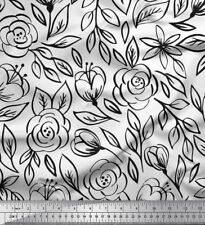 Soimoi Fabric Leaves & Rose Floral Printed Craft Fabric by the Yard - FL-215A