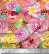 Soimoi Fabric Leaves & Rose Floral Printed Craft Fabric by the Yard - FL-1670G
