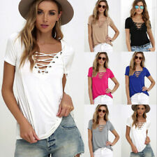 Fashion Women Short Sleeve V-Neck T-shirt Sexy Casual Loose Tops Blouse