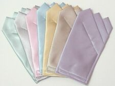 Pastel Satin POCKET SQUARES - Square folded & sewn