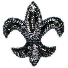E6020  FLEUR DE LIS SEQUIN BEADED APPLIQUE ~ 5 COLORS ~
