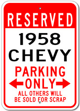 1958 58 CHEVY  Parking Sign
