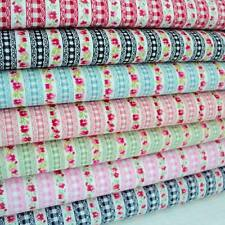 GARLAND & GINGHAM VINTAGE STRIPE ROSES COTTON FABRIC
