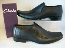 MENS CLARKS SHOES FELLOW SLIP BLACK LEATHER FITTING G