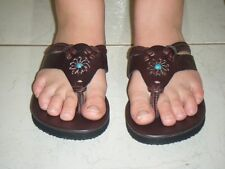 Leather Sandal Womens 5,6,7,8,9,10,11,12 NEW Blue/White