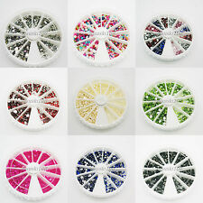 1800 Rhinestone Wheel Diamante Crystal Gems Nail Art Cards 3D Tips Decoration
