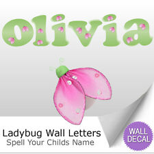 Green Pink Ladybug Alphabet Letter Initial Wall Vinyl Stickers Decals Baby Name