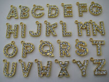 Alphabet Letter Dangle Charm Bead: One Letter Gold Plated with Rhinestones